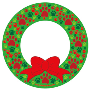 Christmas Paws Wreath Magnet $5.00
